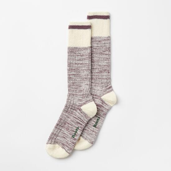 Roots-Women Socks-Womens Park Sock 2 Pack-Black Plum Mix-A