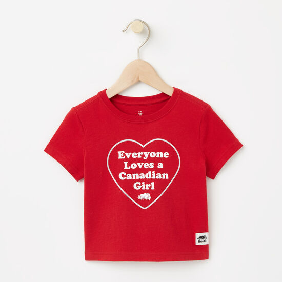 Roots-Kids Baby Girl-Baby Canadian Heart T-shirt-Sage Red-A