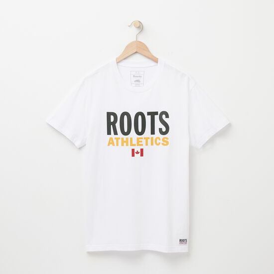 Roots-Men Graphic T-shirts-Mens Roots Re-issue T-shirt-White-A