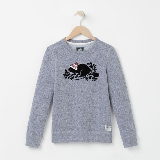 Roots - Girls Pom Pom Beaver Crewneck
