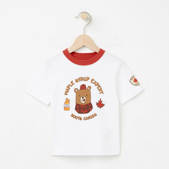 Roots-Kids T-shirts-Toddler Maple Syrup Expert T-shirt-White-A