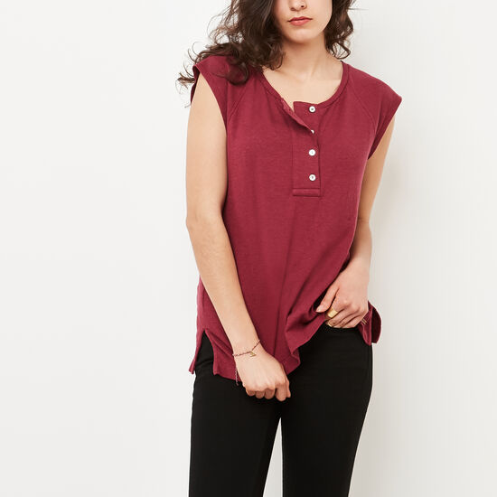 Roots-Women Tops-Highland Henley-Rhododendron-A
