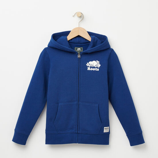 Roots-Kids Tops-Boys Original Full Zip Hoody-Anchor Lake Blue-A