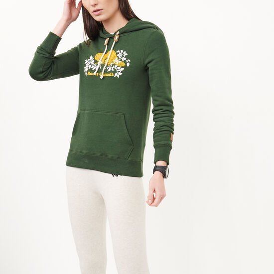 Roots-Women Online Exclusive-Heritage Beaver Pullover Hoody-Park Green-A