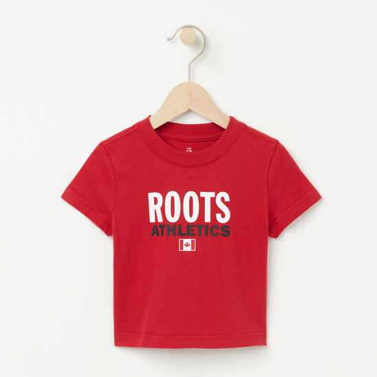 Roots-Kids T-shirts-Baby Roots Re-issue T-shirt-Scooter Red-A