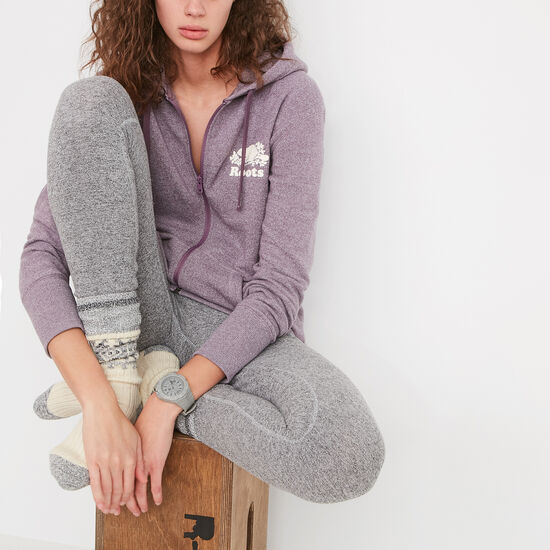 Roots-Women Sweats-Charlotte Full Zip Hoody-Arctic Dusk Pepper-A