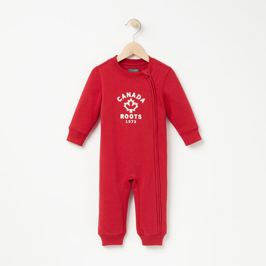 Roots-Kids Rompers & Onesies-Baby True North Original Romper-Scooter Red-A