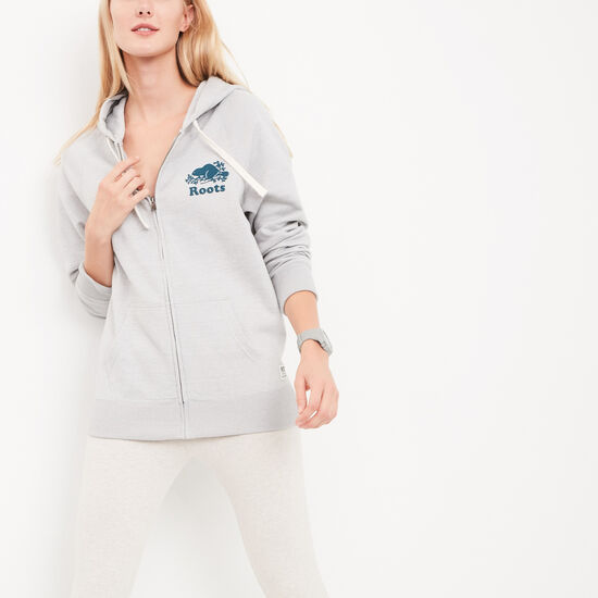 Roots-Women Sweatshirts & Hoodies-Amy Boyfriend Full Zip Hoody-Snowy Ice Pepper-A
