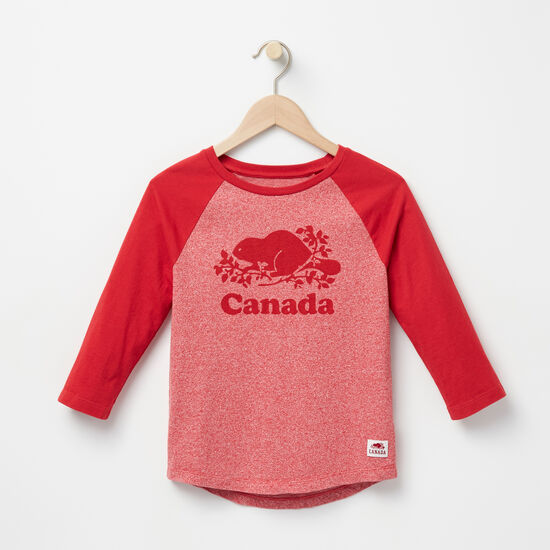 Roots-Kids Canada Collection-Girls Canada Baseball T-shirt-Sage Red Pepper-A