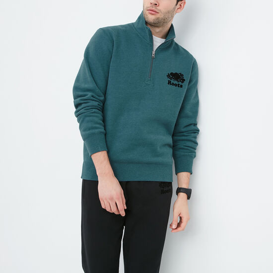 Roots-Men Sweatshirts & Hoodies-Roots Zip Stein-Deep Teal Blue Mix-A