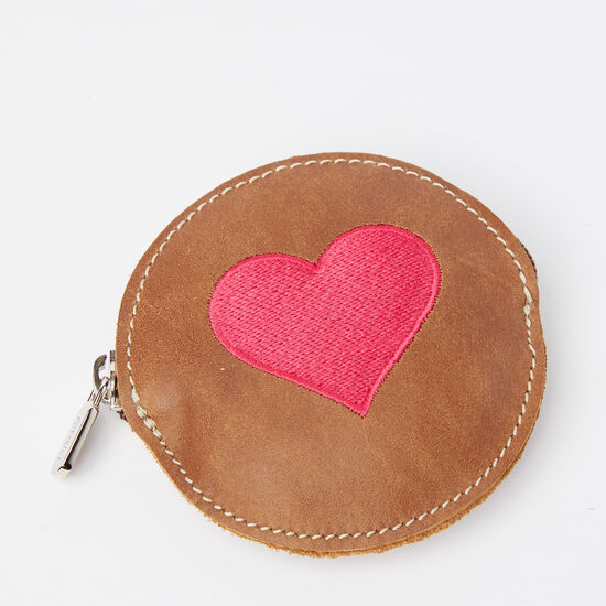 Roots-Leather Leather Accessories-Heart Coin Pouch Tribe-Africa-A
