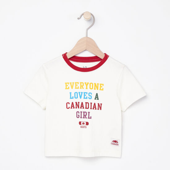 Roots-Kids T-shirts-Baby Canadian Girl T-shirt-Pristine White-A