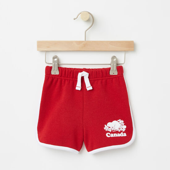 Roots-Kids Bottoms-Baby Cooper Canada Shorts-Sage Red-A