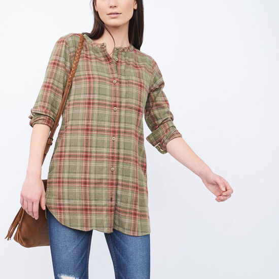 Roots-Women Shirts-Tisdale Flannel Tunic-Dark Olive Green Mix-A