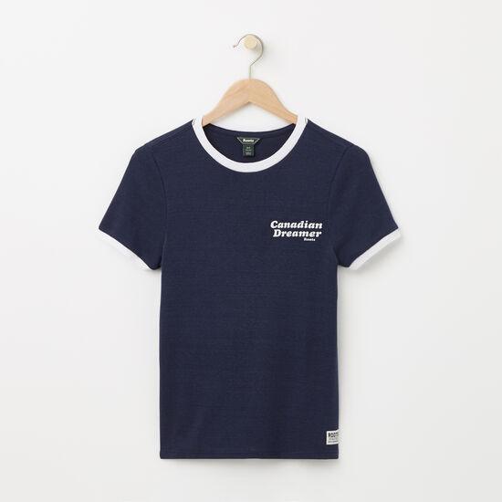 Roots-Women Graphic T-shirts-Canadian Dreamer Rib T-shirt-Cascade Blue-A