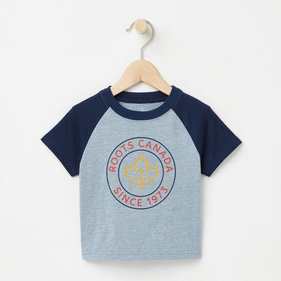 Roots-Kids T-shirts-Baby Knox Raglan Top-Bluestone-A