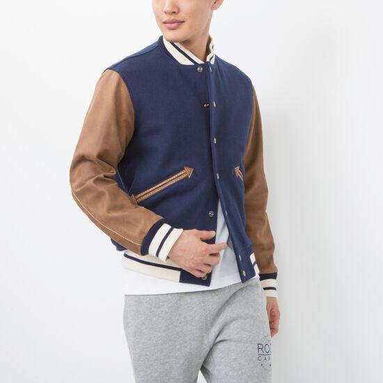 Roots-Hommes Manteaux De Cuir-Mens Varsity Jacket Tribe-Bleu Marine-A