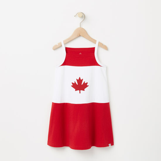 Roots-Kids Toddler Girls-Toddler Canada Flag Tank Dress-Sage Red-A