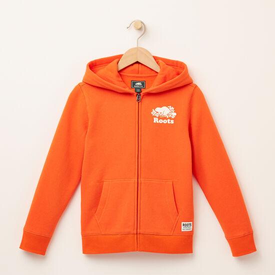 Roots-Kids Tops-Boys Original Full Zip Hoody-Maple Orange-A