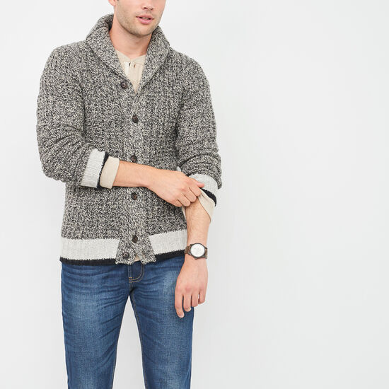 Roots-Men Sweaters & Cardigans-Roots Cabin Waffle Cardigan-Grey Oat Mix-A