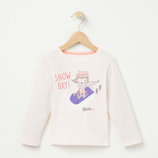 Roots-Kids T-shirts-Toddler Snow Day T-shirt-Heavenly Pink-A