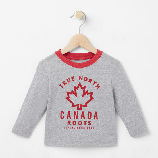 Roots-Kids T-shirts-Baby True North T-shirt-Grey Mix-A