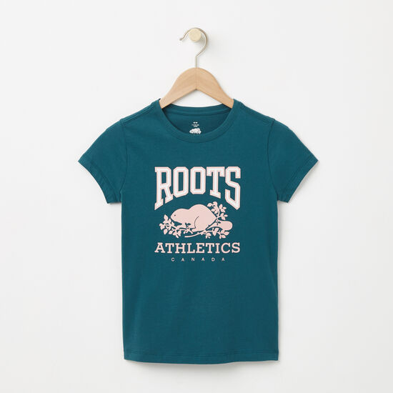 Roots-Kids T-shirts-Girls Glow In The Dark RBA T-shirt-Atlantic Deep-A