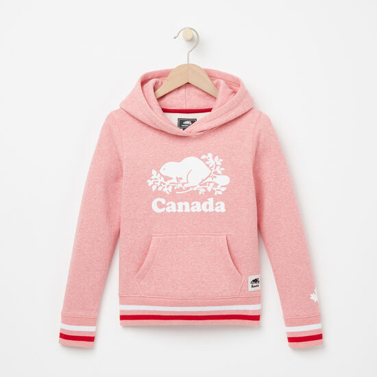 Roots-Kids Tops-Girls Cooper Canada Kanga Hoody-Peony Pink Pepper-A