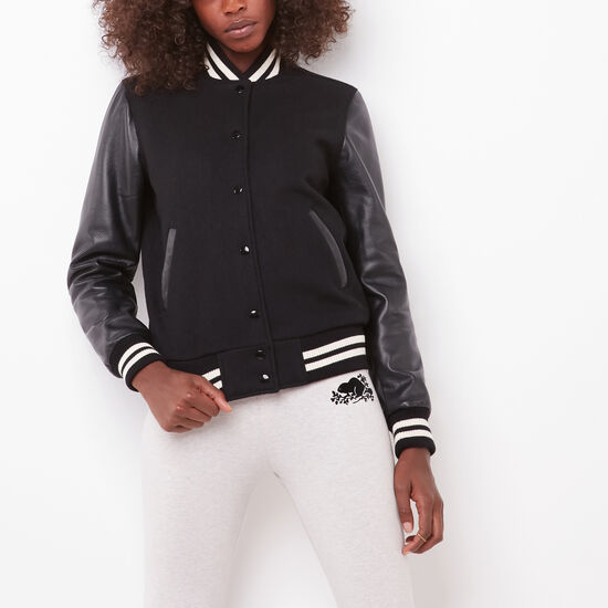 Roots-Women Leather Jackets-Sorority Jacket Melton/Lake-Black-A
