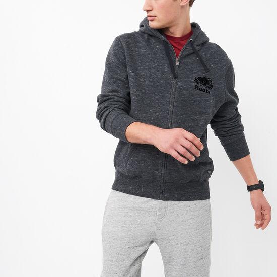 Roots-Men Sweatshirts & Hoodies-3 On 3 Space Dyed Zip Hoody-Coal Grey Combo-A