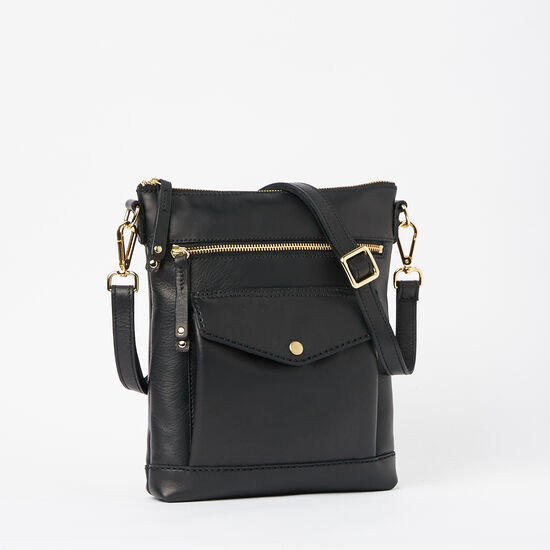 Roots-Leather Handbags-Post Bag Box-Black-A
