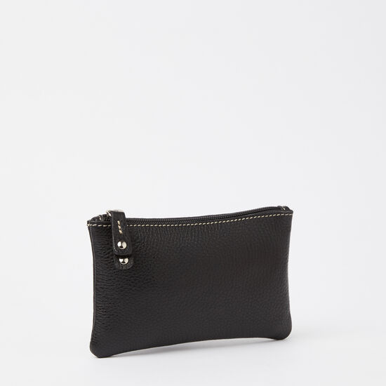 Roots-Women Leather Pouches-Medium Zip Pouch Prince-Black-A