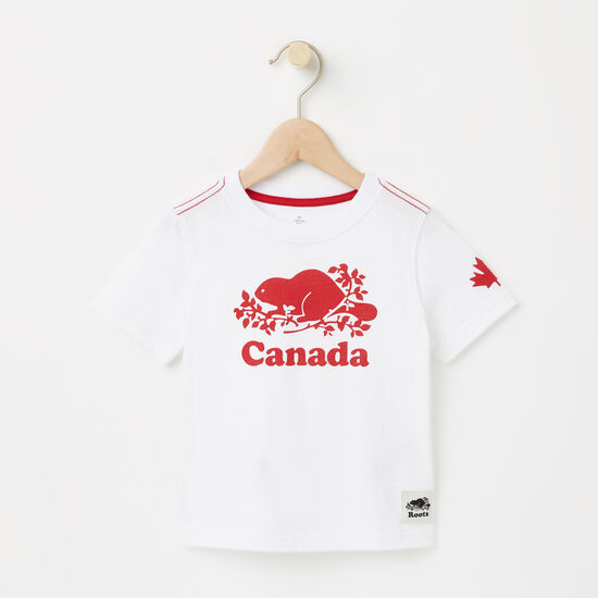 Roots-Kids Toddler Girls-Toddler Cooper Canada T-shirt-White-A