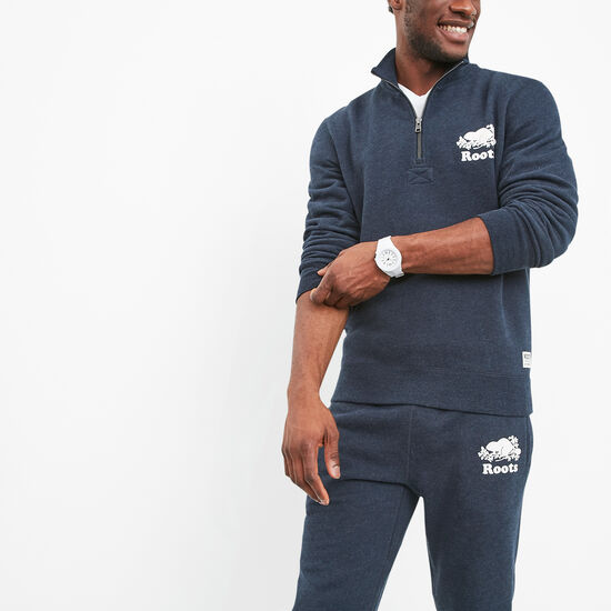 Roots-Men Sweatshirts & Hoodies-Roots Zip Stein-Navy Blazer Mix-A