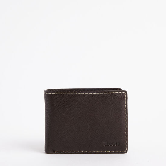Roots-Leather Men's Wallets-Mens Slimfold Top Flap Prince-Chocolate-A