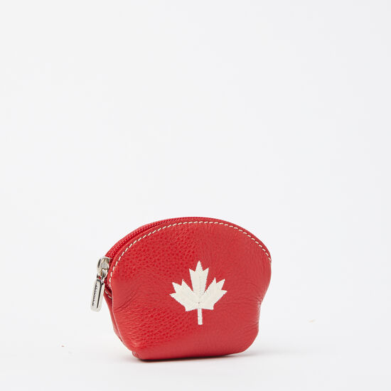 Roots-Women Leather-Maple Leaf Euro Pouch Prince-Canadian Red-A