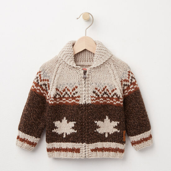 Roots-Kids Tops-Baby Mary Maxim Sweater-Grizzly Brown Mix-A