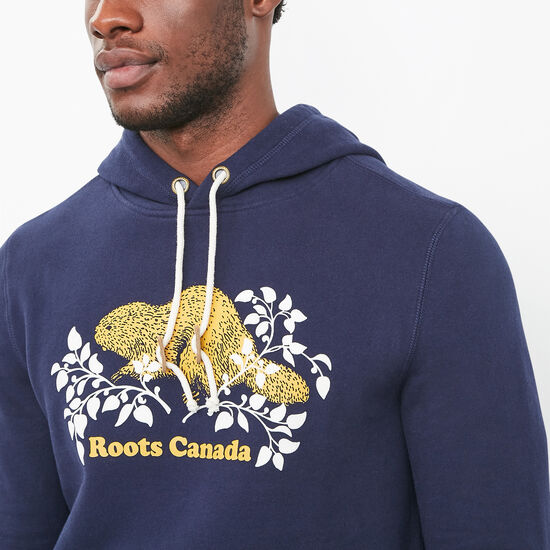 Roots-Men Online Exclusive-Heritage Beaver Pullover Hoody-Evening Blue-A