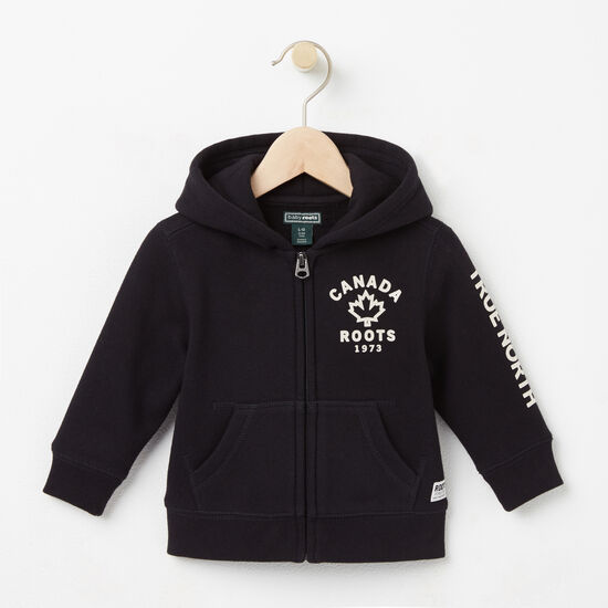 Roots-Kids Tops-Baby True North Full Zip Hoody-Black-A