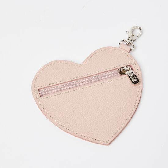 Roots-Leather Leather Accessories-Heart Zip Pouch Prince-Light Pink-A