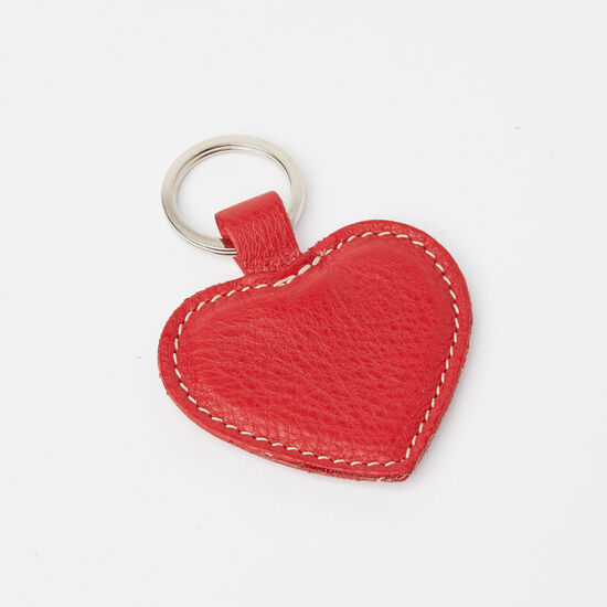 Roots-Leather Leather Accessories-Heart Key Ring Prince-Red-A