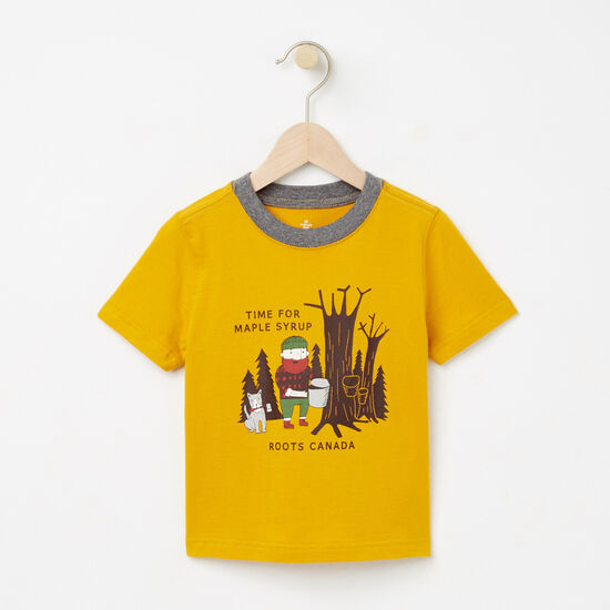 Roots-Kids T-shirts-Toddler Maple Syrup Ringer T-shirt-Ancient Gold-A