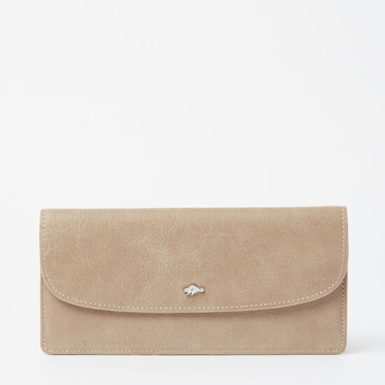 Roots-Women Wallets-Slim Curve Wallet Tribe-Sand-A