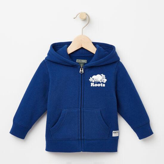 Roots-Kids Tops-Baby Original Full Zip Hoody-Anchor Lake Blue-A