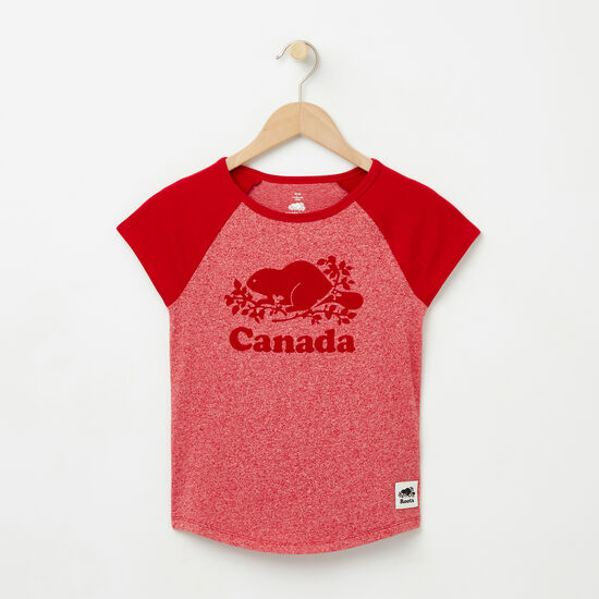 Roots-Kids Tops-Girls Cooper Canada Raglan Top-Sage Red Pepper-A