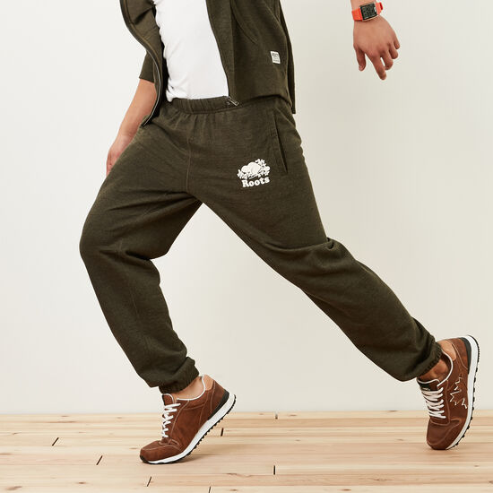 Roots-Men Sweats-Melville Terry Original Sweatpant-Ivy Green Pepper-A