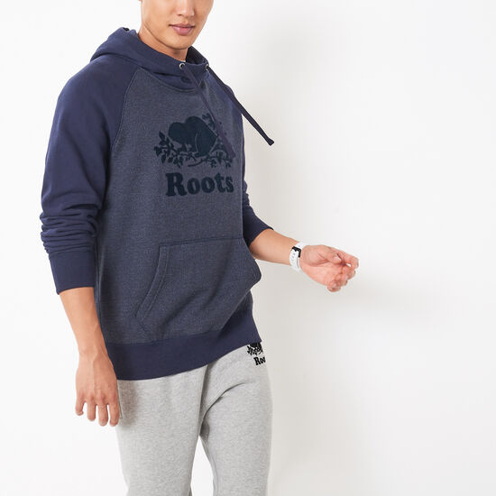 Roots-Men Sweatshirts & Hoodies-Colour Block Pierre Funnel Hoody-Navy Blazer Pepper-A