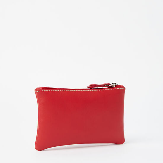 Roots-Women Leather Pouches-Medium Zip Pouch Bolzano-Scarlet-A