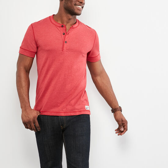 Roots-Men Short Sleeve T-shirts-Long Point Short sleeve Henley-Sage Red Mix-A