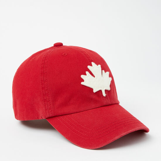 Roots-Men Accessories-Canada Leaf Baseball Cap-Sage Red-A